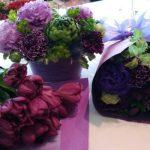 紫色の花の花束アレンジ!!